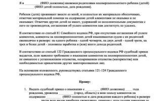 Заявление на алименты: образец 2020, как составить документ