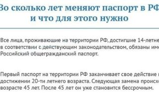 Во сколько лет в россии получают и меняют паспорт