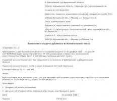 Образец заявления о выдаче дубликата исполнительного листа