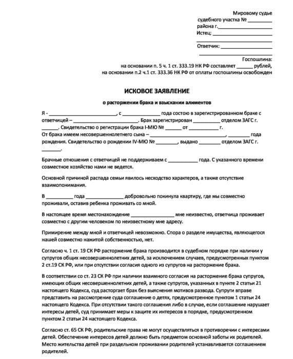 Исковое заявление о расторжении брака и о взыскании алиментов