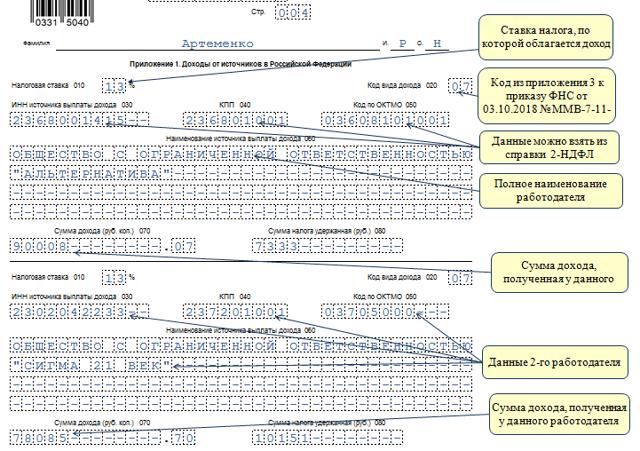 Образец заполнения декларации 3-НДФЛ 2020 для физических лиц