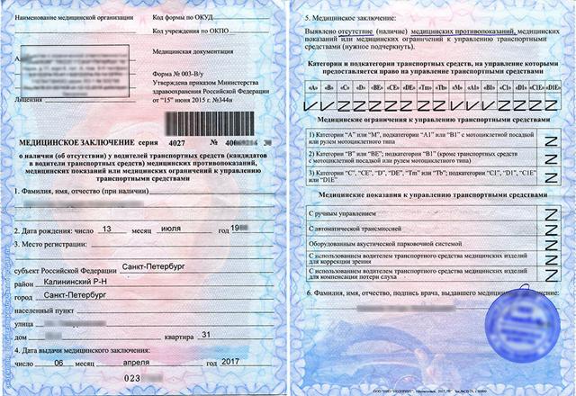 Медицинская справка форма 003 в/у: образец документа